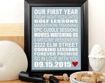 Personalized First Anniversary Gift, Custom Typography Print- Sentimental Gift, Romantic Gift for Husband - Personalized Subway Sign 11x17