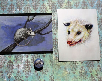 Opossum Set 2 postcards and 1 button Possums! America's only marsupial!