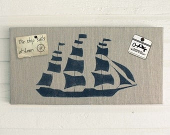 On the Sea - Clipper Ship  - 12 x 24 Burlap over Cork Message Board, Pin Board, Memo Board, Bulletin Board - Nautical Design
