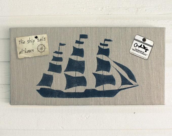 On the Sea - Clipper Ship  - 12 x 24 Burlap over Cork Message Board, Pin Board, Memo Board, Bulletin Board - Nautical Design