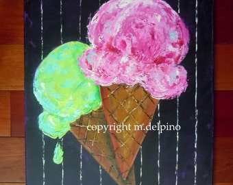 Ice Cream Cone painting kitchen wall art restaurant art, black pink, original painting bright bold colors 16x20, fun KID playroom wall art,