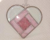 Pink Stained Glass Heart Suncatcher, Valentine Heart  Stained Glass Heart, Beveled Heart, Stained Glass Suncatcher, White and Pink Heart