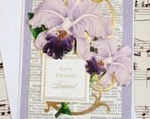Handmade 3D Birthday Card, Iris Birthday Card, Blank Card, Feminine Birthday, Friend Birthday Card, Birthday Card for Friend
