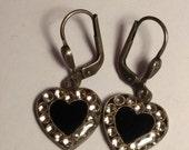 Catherine Popesco France Vintage Black Heart Silver Tone Clear Rhinestone Charm Earrings Edwardian