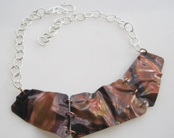 Crumpled II, Sterling Silver and Copper Necklace