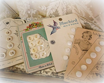 4 cards vintage mother of pearl buttons bluebird buttons lady washington pearls shanks and flats