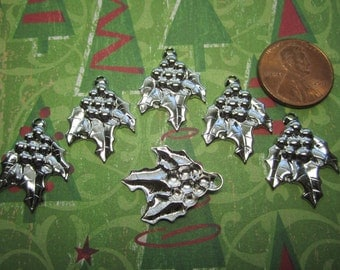 Holly Berry Cluster Christmas Charms Silver Tone Findings on Etsy x 6