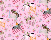 Horse Show Pink Snuggle Cotton Flannel Fabric - BTY - EQUESTRIAN