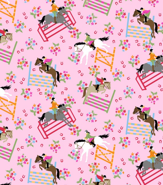 Horse show pink snuggle cotton flannel fabric bty for Kids horse fabric