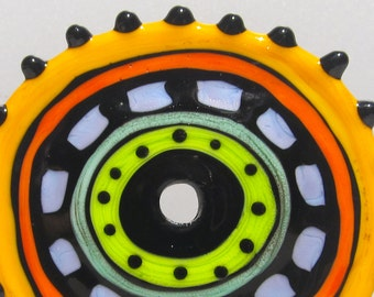 Zuma Big Wheel--Handmade Lampwork Glass Bead Disc