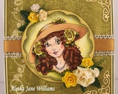 The Yellow Hat Handmade Traditional Old Fashioned 1900s Greeting Art Card