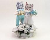 READY TO SHIP Vintage Style Spun Cotton Kitties In Love Wedding Topper Ooak