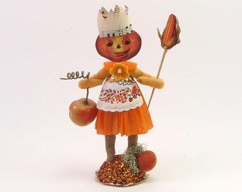 READY TO SHIP Vintage Inspired Spun Cotton Harvest Pumpkin Lady Figure Ooak