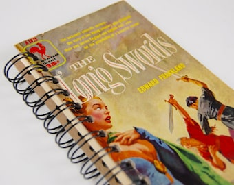 The Long Swords- Recycled Book Journal, Notebook, Sketchbook, made from altered book