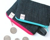 Dark Denim Blue credit card zipper pouch. Vintage jeans coin purse. Pink and Aqua zippers, Ready To Ship, padded minimalist wristlet wallet