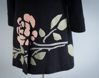 Black Coat with Ice Pink Rose Applique