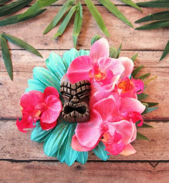 1940s Hair Snoods- Buy, Knit, Crochet or Sew a Snood Oasis Tiki Hair Clip-Tropical Hair Clip Tiki Hat Pinup Hair Clip Beach Hair $25.00 AT vintagedancer.com