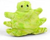 cat toy, catnip bug, catnip toy, catnip pellet toy, lime green batik fabric