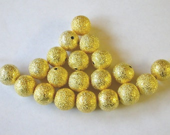 Gold Stardust Beads, 8mm Gold Stardust Beads