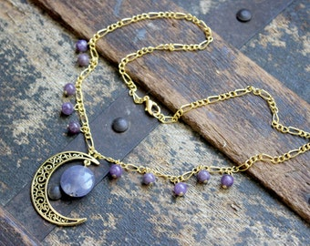 Lepidolite and the Antiqued Gold Crescent Moon Necklace