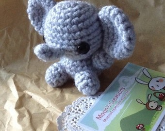 Custom Elephant Amigurumi - Elephant Doll with Keychain or Ornament Options - Choose Your Own Color