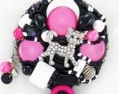 Half Off Sale Hand Mirror - Sparkle Kitty - Repurposed Jewelry - M001059