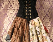 """Patchwork Modern High-waisted """"Petal Pirate"""" Three-Pocket, 28"""" Waist Skirt"""