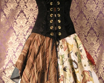 "Patchwork Modern High-waisted ""Petal Pirate"" Three-Pocket, 28"" Waist Skirt"