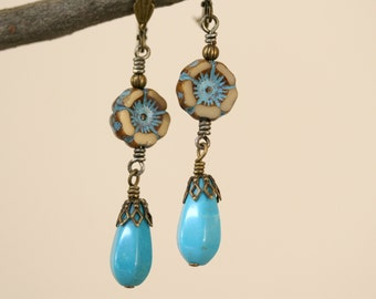 Turquoise and Tan Boho Style Czech Glass Flower Antiqued Brass Dangling Earrings