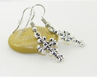 Ornate Tibetan silver cross charm dangle earrings, Crucifix, Easter, Baptism, Confirmation, Religious, Brides, Gift for her, Jewelry