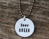 Yas Queen Hand Stamped Necklace, Yass Kween