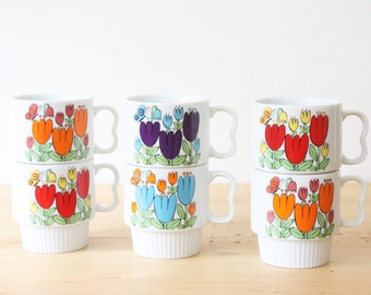Set of 6 Vintage Ceramic Stacking Colorful Tulips Coffee Mugs Tea Cups, Made In Japan, Retro Stacking Flower Cups