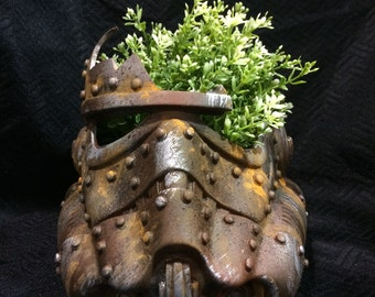 Rusted Stormtrooper Helmet Planter Star Wars decor succulents Design a vinyl stormtrooper