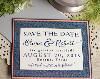 Chinese Indigo Save the Date  Navy Blue Coral