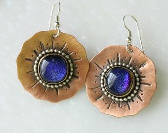 Poppy Earrings in Copper and Glass Drop Earrings Dangle Earrings Jewelry, GetGlassy