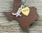 TEXAS | Rustic 2016 Christmas Ornament | Handstamped Brass Tag, Antiqued Silver Cowboy Boot Hat Gun Pickup Truck or Cross Charm