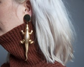 after a while alligator oversized earrings / long dangle earrings / statement animal earrings / 891a