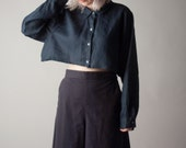 a room in town blue linen extra wide crop top / cropped blouse / oversized top / s / m / 1400t