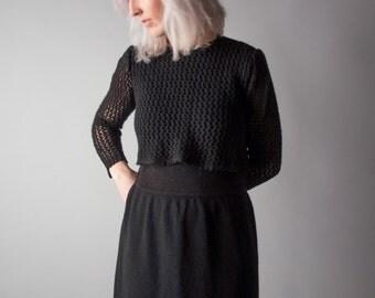 elite squad layered knit and crochet dress / little black dress / vtg 70s dress / s / 1333d