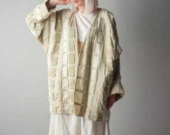 guernica woven ribbon oversized coat / avant garde batwing coat / kimono style jacket / s / m / 1037o