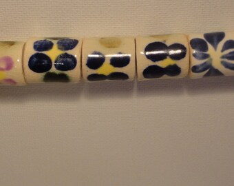 Stoneware beads, handmade, 8 total, one of a kind