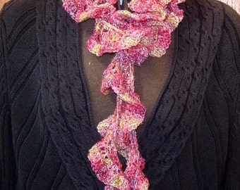 RESERVED On SALE Old Rose Hand Crocheted Spiral Scarf in Silk Rayon