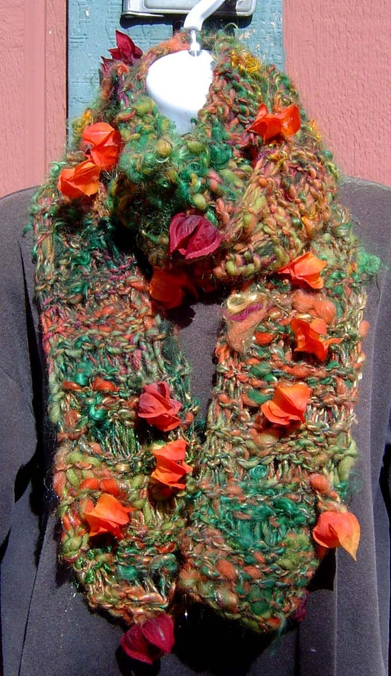On SALE Chinese Lantern Hand Knit Scarf from Handspun Art Yarn ~ Stunning! Wool Mohair Bamboo Silk Alpaca Sari Silk Tencel