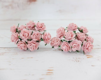 20 mulberry paper light pink roses (15mm) - paper flowers