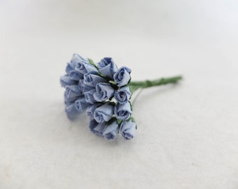 25 5mm mulberry paper blue rose buds