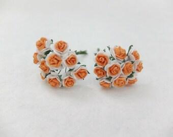 20 10mm white orange mulberry roses