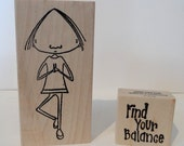 find your balance wood mounted rubber stamp
