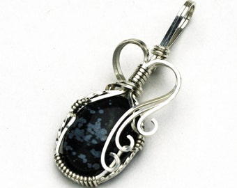 Snowflake Obsidian Swirls and Curls Silver Filled Wire Pendant