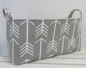 CLEARANCE / SALE - Long Diaper Caddy Storage Container Basket Organizer Bin - Nursery Decor - White Arrows on Gray Fabric