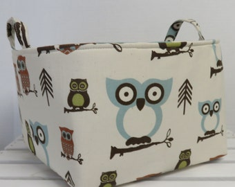 Hooty Owl - Large Diaper Caddy Storage Container Basket Organizer Bin - Nursery Decor - 1 Divider